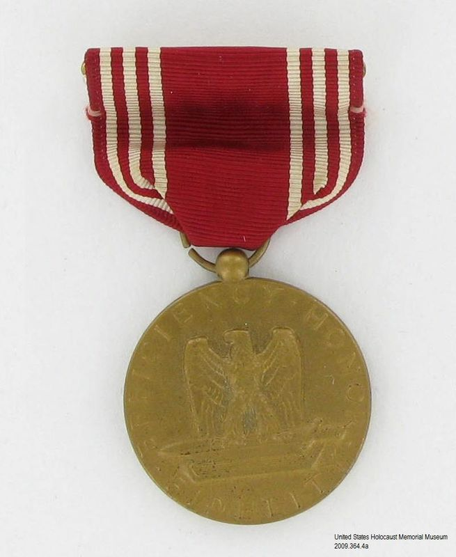 2009.364.4a front, US Army Good Conduct Medal, Tom T. Kovary Collection US Army Good Conduct Medal, 3 ribbon bars, and 3 ribbons awarded to a Czech Jewish refugee