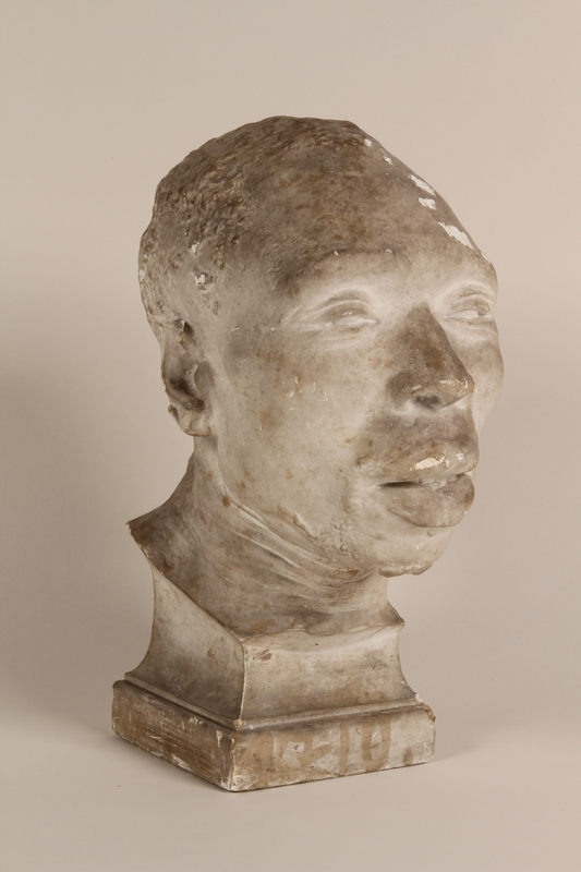 1990.47.3 front Model of the head of an African male used to teach racial science