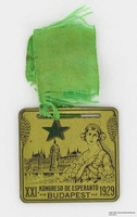 2009.364.12, medal from an Esperanto conference, with a woman and a view of Budapest, Tom T. Kovary Collection
