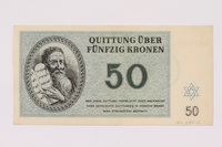 1990.50.1 front Theresienstadt ghetto-labor camp scrip, 50 kronen note  Click to enlarge