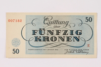 1990.50.1 back Theresienstadt ghetto-labor camp scrip, 50 kronen note  Click to enlarge