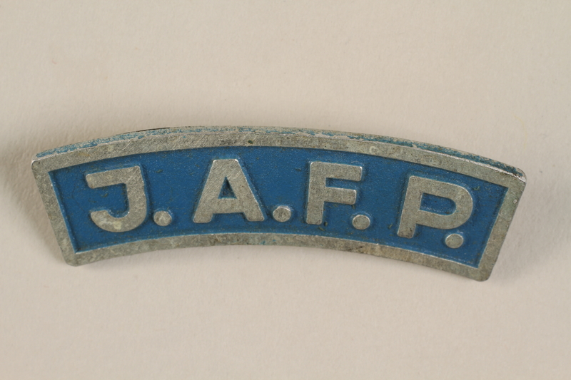 1990.59.1 front Jewish Agency for Palestine pin issued to an American rabbi