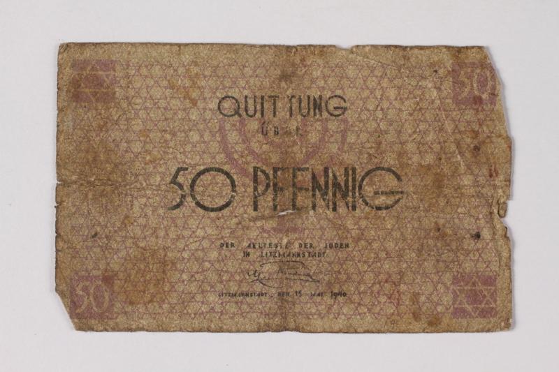1990.60.1 front Łódź (Litzmannstadt) ghetto scrip, 50 pfennig note