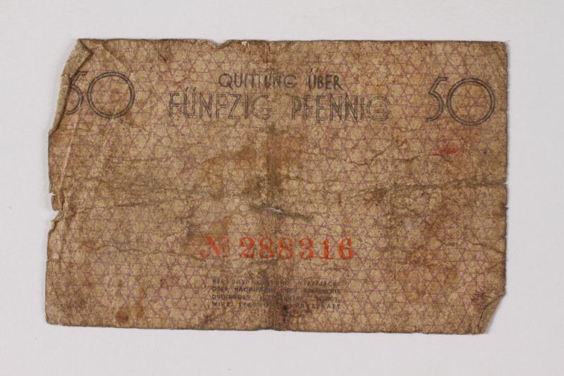 1990.60.1 back Łódź (Litzmannstadt) ghetto scrip, 50 pfennig note