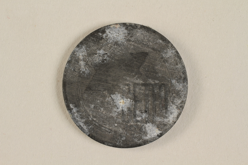 1990.60.10 front Łódź (Litzmannstadt) ghetto scrip, 5 mark coin