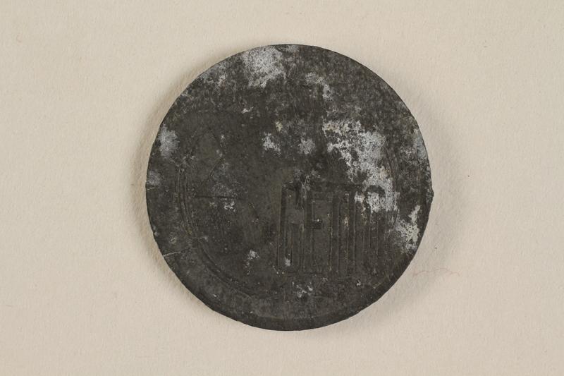 1990.60.11 front Łódź (Litzmannstadt) ghetto scrip, 5 mark coin