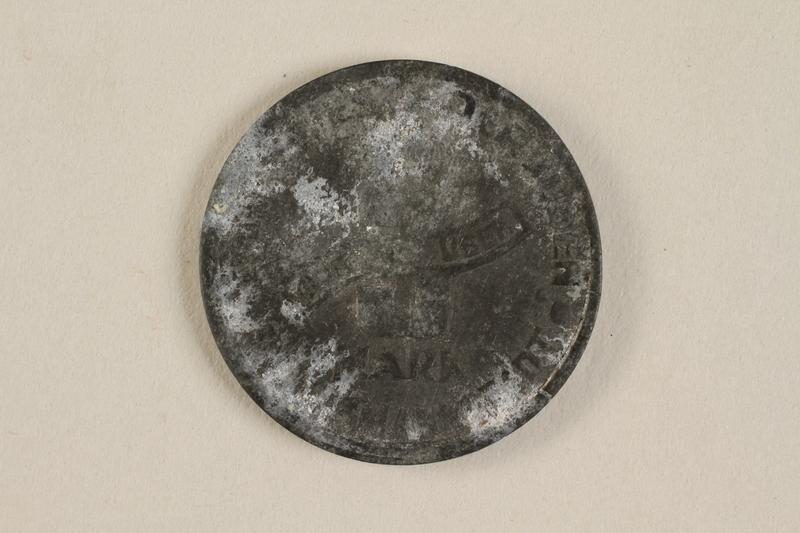 1990.60.11 back Łódź (Litzmannstadt) ghetto scrip, 5 mark coin