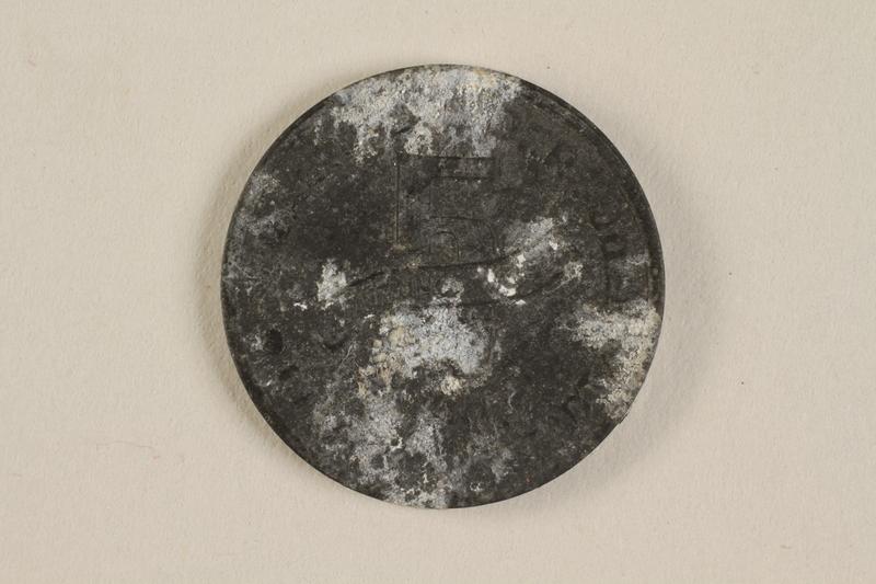 1990.60.14 back Łódź (Litzmannstadt) ghetto scrip, 5 mark coin