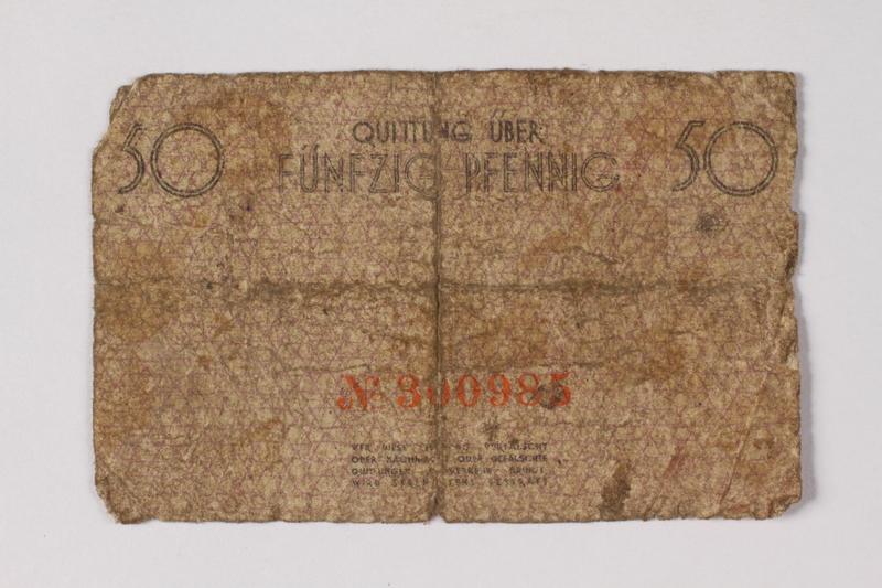 1990.60.2 back Łódź (Litzmannstadt) ghetto scrip, 50 pfennig note