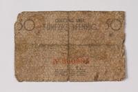 1990.60.2 back Łódź (Litzmannstadt) ghetto scrip, 50 pfennig note  Click to enlarge