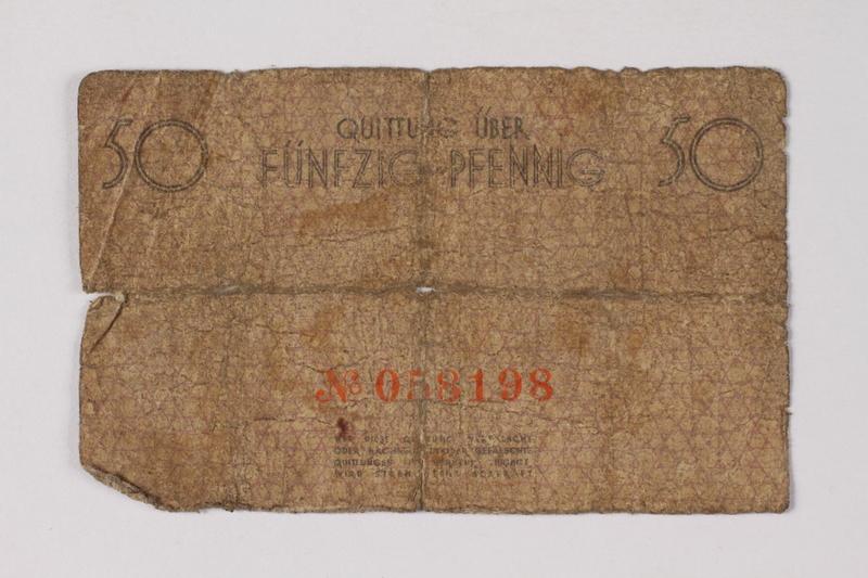 1990.60.3 back Łódź (Litzmannstadt) ghetto scrip, 50 pfennig note