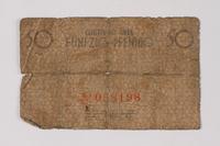 1990.60.3 back Łódź (Litzmannstadt) ghetto scrip, 50 pfennig note  Click to enlarge