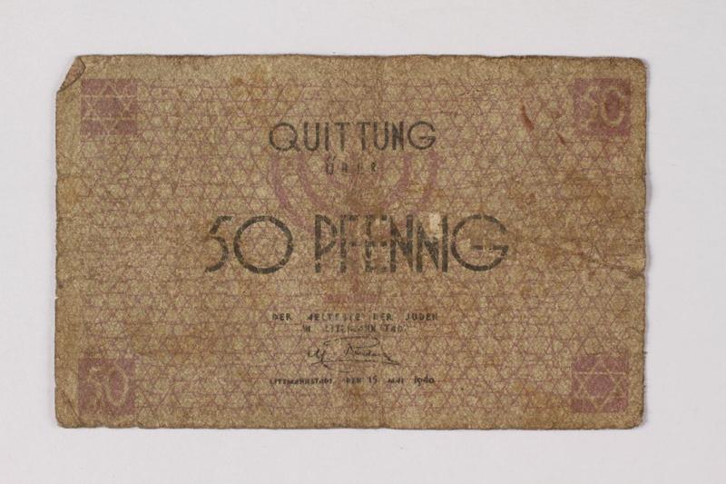 1990.60.4 front Łódź (Litzmannstadt) ghetto scrip, 50 pfennig note