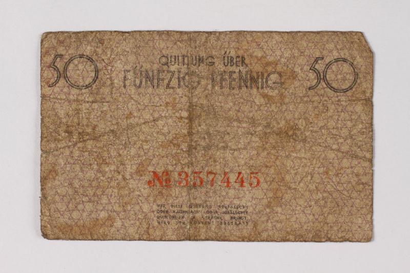 1990.60.4 back Łódź (Litzmannstadt) ghetto scrip, 50 pfennig note