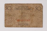 1990.60.4 back Łódź (Litzmannstadt) ghetto scrip, 50 pfennig note  Click to enlarge