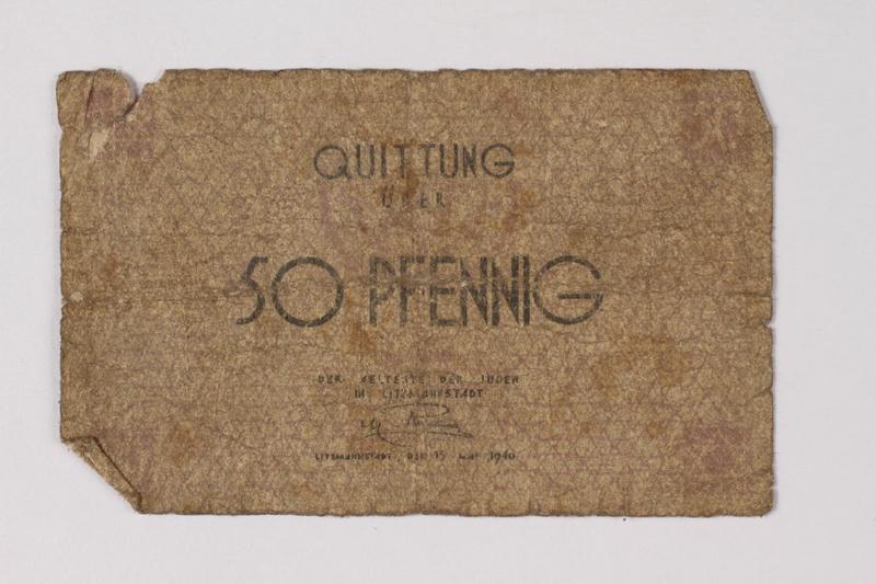 1990.60.5 front Łódź (Litzmannstadt) ghetto scrip, 50 pfennig note