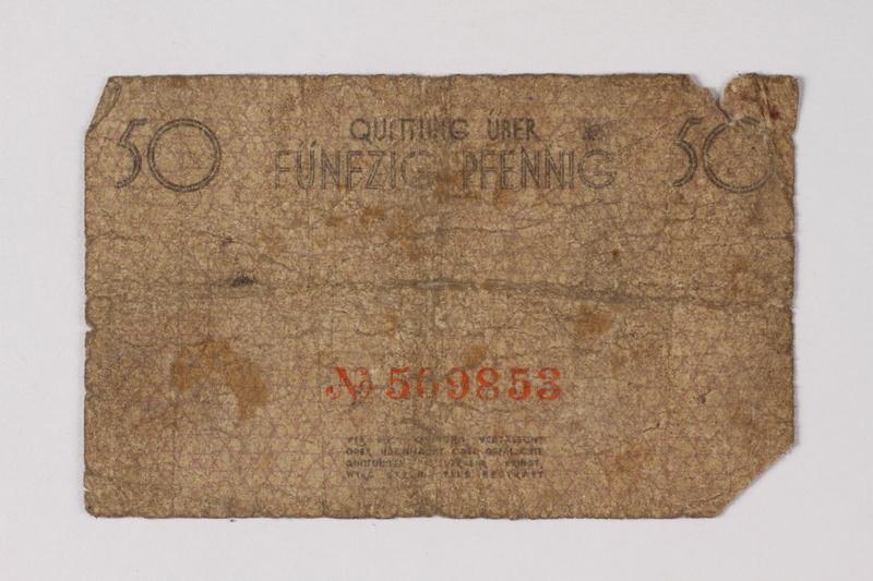 1990.60.5 back Łódź (Litzmannstadt) ghetto scrip, 50 pfennig note