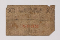 1990.60.5 back Łódź (Litzmannstadt) ghetto scrip, 50 pfennig note  Click to enlarge