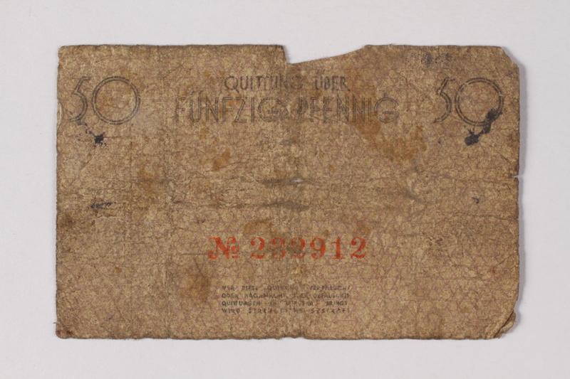 1990.60.6 back Łódź (Litzmannstadt) ghetto scrip, 50 pfennig note