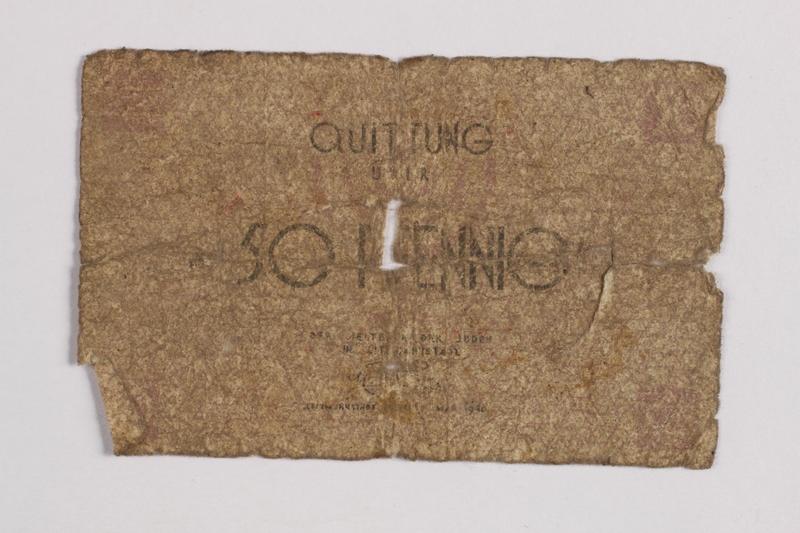 1990.60.7 front Łódź (Litzmannstadt) ghetto scrip, 50 pfennig note