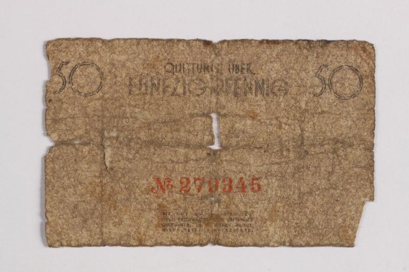 1990.60.7 back Łódź (Litzmannstadt) ghetto scrip, 50 pfennig note