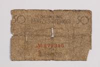 1990.60.7 back Łódź (Litzmannstadt) ghetto scrip, 50 pfennig note  Click to enlarge