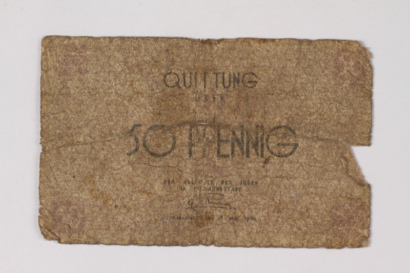 1990.60.8 front Łódź (Litzmannstadt) ghetto scrip, 50 pfennig note