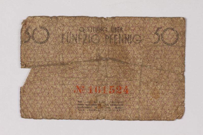 1990.60.8 back Łódź (Litzmannstadt) ghetto scrip, 50 pfennig note