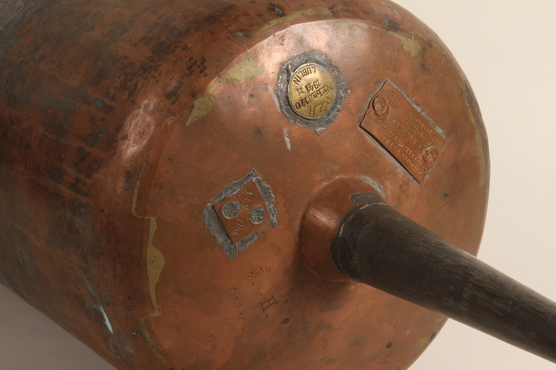 1990.82.1 close Upright soda barrel handcrafted and used in the Lublin ghetto