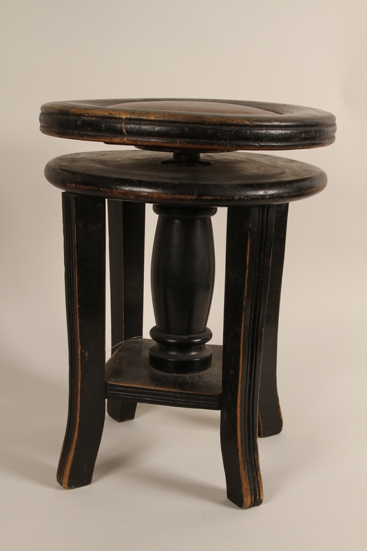 1990.82.3 front Music stool handmade in prewar Poland
