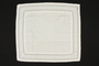 White square cotton pillowcase with a cutwork border brought to the US by a Jewish family fleeing German occupied Poland