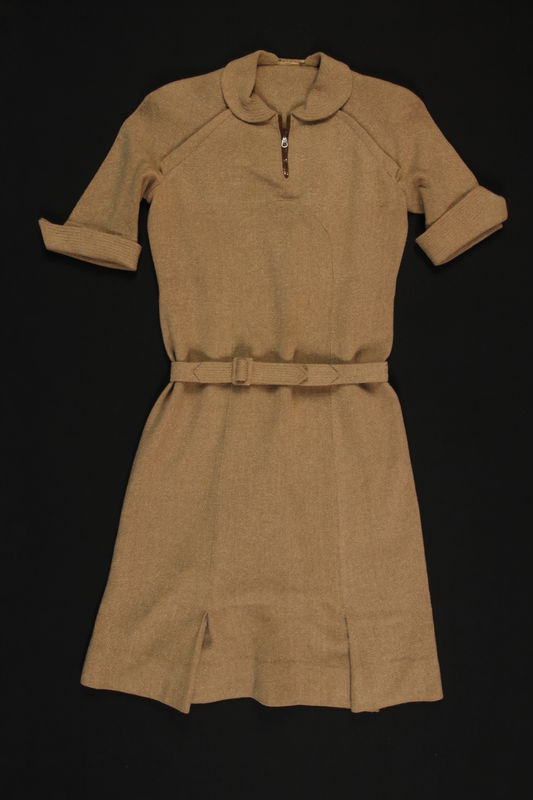2009.376.2_a front Beige wool/angora dress with self-belt brought to the US by a Jewish family fleeing German occupied Poland