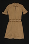 Beige wool/angora dress with self-belt brought to the US by a Jewish family fleeing German occupied Poland