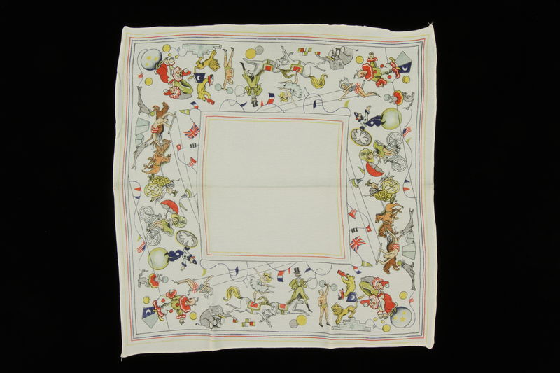 2009.376.35 front Silk circus print handkerchief brought to the US by a Jewish family fleeing German occupied Poland