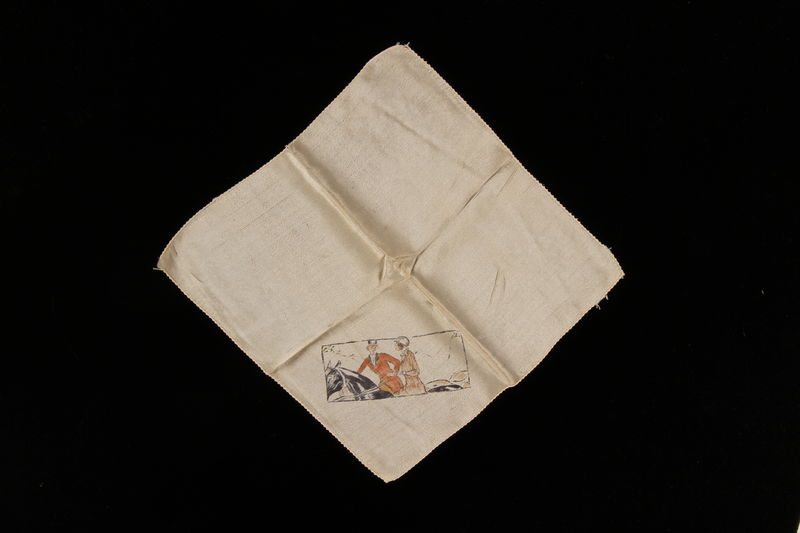 2009.376.38 front White silk handkerchief with a drawing of 2 women on horseback brought to the US by a Jewish family fleeing German occupied Poland