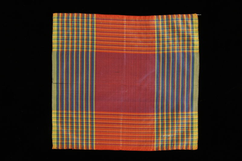 2009.376.40 front Iridescent plaid silk taffeta handkerchief brought to the US by a Jewish family fleeing German occupied Poland