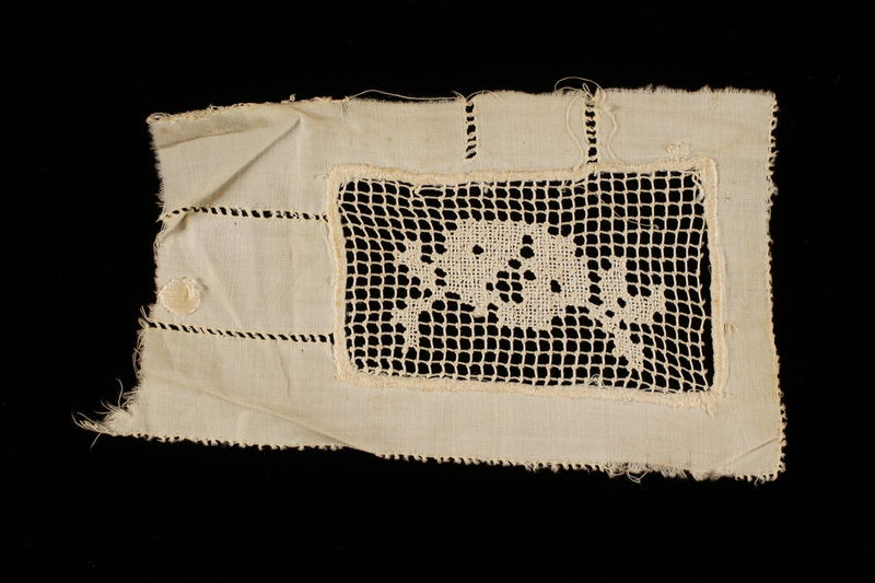 2009.376.21_a front Four white filet embroidered net inserts brought to the US by a Jewish family fleeing German occupied Poland