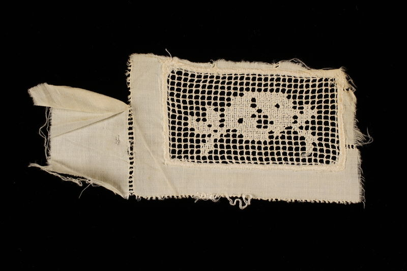 2009.376.21_b front Four white filet embroidered net inserts brought to the US by a Jewish family fleeing German occupied Poland