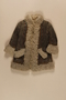 Child's gray shearling embroidered mountaineer's craft coat brought to the US by a Jewish family fleeing German occupied Poland