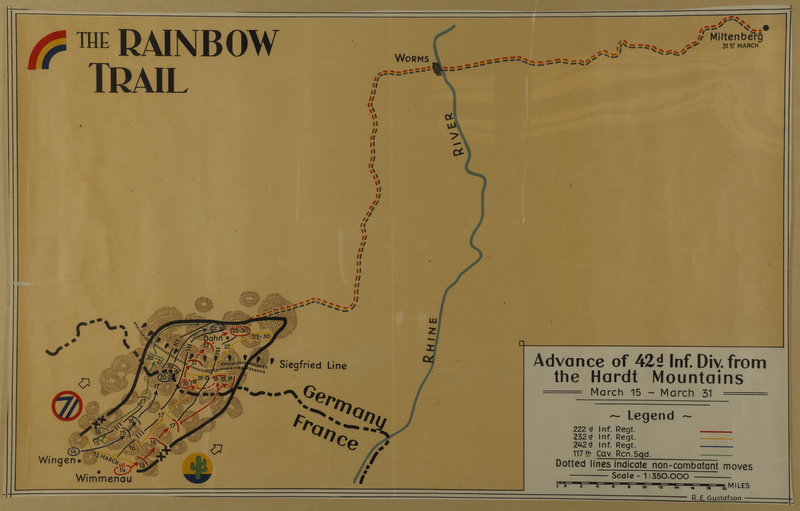 2010.130.1 front Copy of hand drawn map, Rainbow Division entry into Germany by division member