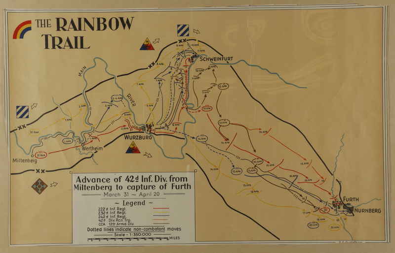 2010.130.2 front Copy of hand drawn map, Rainbow Division advance into Germany by division member