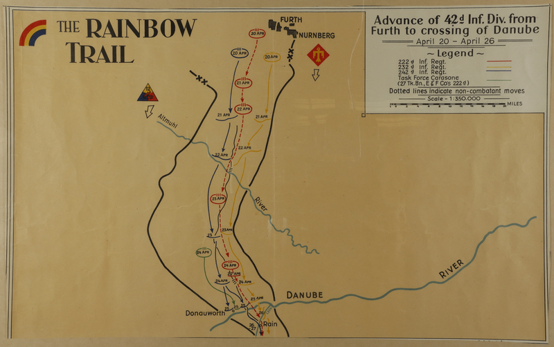 2010.130.3 front Copy of hand drawn map, Rainbow Division advance into southern Germany by division member