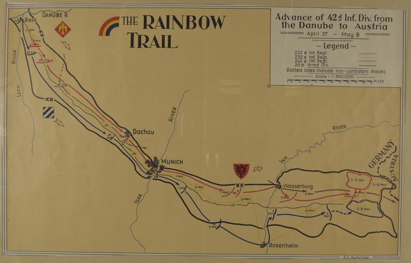 2010.130.4 front Copy of hand drawn map, Rainbow Division route to liberation of Dachau by division member