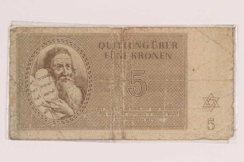 2010.191.3 front Theresienstadt ghetto-labor camp scrip, 5 kronen note
