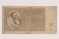 2010.191.3 front Theresienstadt ghetto-labor camp scrip, 5 kronen note  Click to enlarge