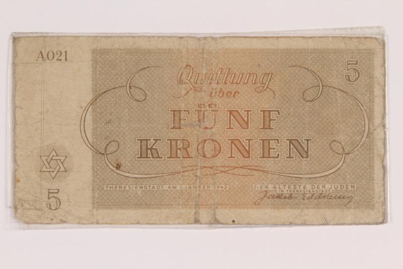 2010.191.3 back Theresienstadt ghetto-labor camp scrip, 5 kronen note