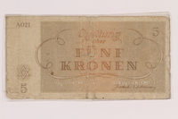 2010.191.3 back Theresienstadt ghetto-labor camp scrip, 5 kronen note  Click to enlarge