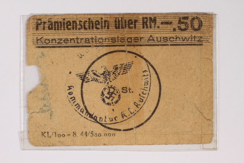 2010.191.4 front Auschwitz concentration camp scrip type 3, .50 Reichsmark, received by a Polish Jewish inmate