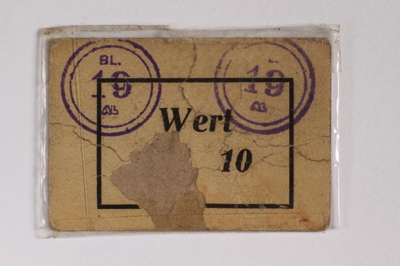 2010.191.5 front Sachsenhausen-Oranienburg concentration camp scrip, wert 10, received by a Polish Jewish inmate