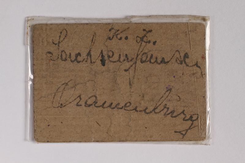 2010.191.5 back Sachsenhausen-Oranienburg concentration camp scrip, wert 10, received by a Polish Jewish inmate